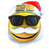 3d yellow emoticon smile with 2018 Christmas hat. 3d illustration of yellow emoticon smile with 2018 Christmas hat over white background Stock Photography