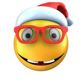 3d yellow emoticon smile with christmas hat. 3d illustration of yellow emoticon smile with christmas hat over white background Stock Photo