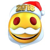 3d yellow emoticon smile with 2018 Christmas hat. 3d illustration of yellow emoticon smile with 2018 Christmas hat over white background Royalty Free Stock Images