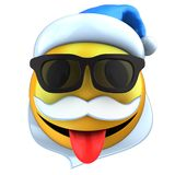 3d yellow emoticon smile with Christmas hat Stock Photos