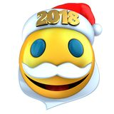 3d yellow emoticon smile with 2018 Christmas hat. 3d illustration of yellow emoticon smile with 2018 Christmas hat over white background Royalty Free Stock Photos