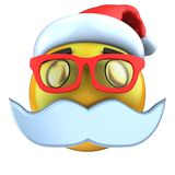 3d yellow emoticon smile with christmas hat. 3d illustration of yellow emoticon smile with christmas hat over white background Royalty Free Stock Images