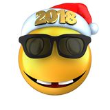 3d yellow emoticon smile with 2018 Christmas hat Stock Photos