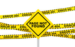 3d yellow error 404 ribbons and sign board Royalty Free Stock Image