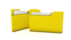 3d File folders. 3d yellow file folders on white background Stock Photos
