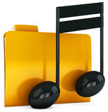 3d yellow folder icon with musical notes Stock Photography