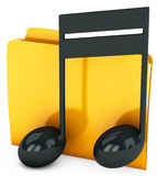 3d yellow folder icon with musical notes Royalty Free Stock Image