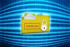 3D yellow folder and lock. Data security concept. Top secret folder and Lock over the white background. 3d render Stock Photo