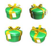 3D yellow-green round gift box set. 3D Icon Design Series. Stock Photography