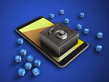 3d yellow. 3d illustration of mobile phone over blue background with binary cubes and steel safe Royalty Free Stock Image