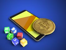 3d yellow. 3d illustration of mobile phone over blue background with cubes and bitcoin Stock Images