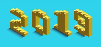 3d izometric number of new year from lego bricks. 3d izometric number 2019 from constructor bricks. 3d yellow izometric number of new year from lego bricks on stock illustration