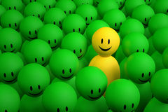 3d yellow man comes out from a green crowd Royalty Free Stock Photo
