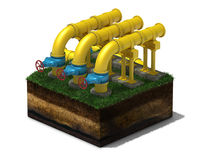 3d yellow pipeline with blue valves on section of land,  Royalty Free Stock Photos