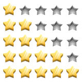 3D yellow ranking stars Royalty Free Stock Photos