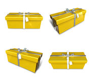 3D yellow rectangular gift box set. 3D Icon Design Series. Royalty Free Stock Photos
