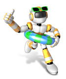 3d Yellow robot go on a waterside excursion. Create 3D Humanoid Stock Photos