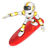 3D Yellow robot is riding a surf board to the left. Create 3D Hu Royalty Free Stock Image