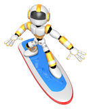 3D Yellow robot is riding a surf board to the Right. Create 3D H Stock Photo