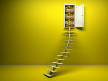 3d yellow room with opened door. Brick wall Royalty Free Stock Photography