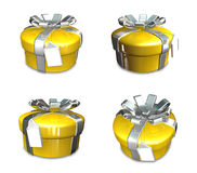 3D yellow round gift box set. 3D Icon Design Series. Stock Photography