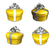 3D yellow round gift box set. 3D Icon Design Series. Royalty Free Stock Photos