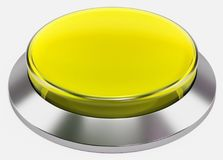 3d yellow shiny button. Round glass web icons with chrome frame Royalty Free Stock Image