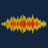 3D yellow sound waveform made of cubes. 3D yellow sound waveform made of cube pixels Stock Photography