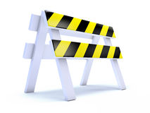 3d Yellow striped road works barrier. 3d render of a yellow striped roadworks barrier Royalty Free Stock Images