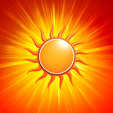 3d yellow sun with glowing orange rays. Abstract summer background with 3d yellow sun and glowing orange rays Royalty Free Stock Images