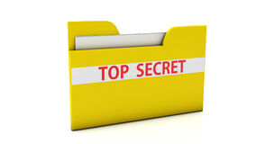 3d File folder. 3d yellow top secret file folders on white background Royalty Free Stock Images