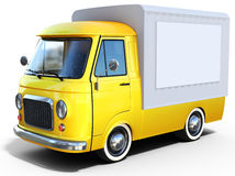 3d yellow vintage van Stock Images