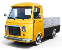 3d yellow vintage van Stock Photo