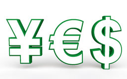 3d yen euro and dollar symbols making yes Royalty Free Stock Photo