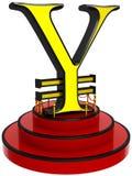 3D yen sign on podium Royalty Free Stock Photo