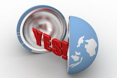 3d yes globe Royalty Free Stock Photography
