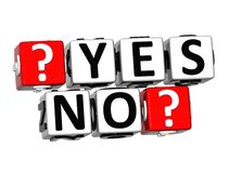 3D Yes No Button Click Here Block Text Royalty Free Stock Image