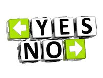 3D Yes No Button Click Here Block Text Stock Image