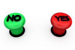 3d yes no button concept Stock Image
