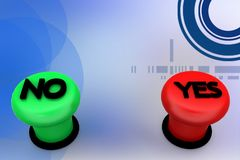 3d yes no button illustration Stock Photos