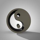 3d Yin och Yang undertecknar, det kinesiska symbolet av taoism Royaltyfria Bilder