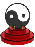 3D Yin Yang on podium Stock Photography