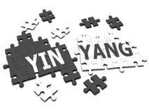 3d YinYang jigsaw. 3d render of a jigsaw spelling the word Yin-Yang Stock Photography