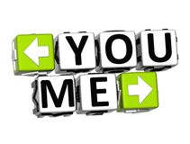 3D You Me Button Click Here Block Text Stock Image
