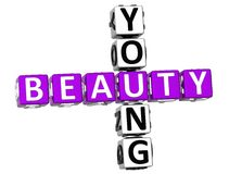 3D Young Beauty Crossword Stock Photo
