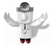 3d young doctor man standing with his arms up Stock Image