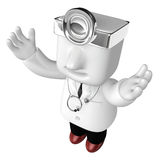 3d young doctor man standing with his arms up. 3D Square Man Ser Stock Images