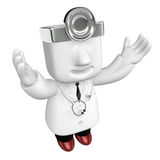 3d young doctor man standing with his arms up. 3D Square Man Ser Royalty Free Stock Images