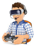 3D Young gamer playing with virtual reality glasses. VR Stock Image