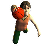 3d Basketball player. 3d young male basketball player in American cartoon style Royalty Free Stock Images